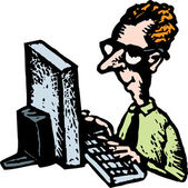 Woodcut Illustration of Webmaster or Nerd — Stock Vector