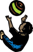Woodcut Illustration of Little Boy Playing with Ball — Stockvector