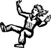 Woodcut Illustration of Woman Falling — 图库矢量图片