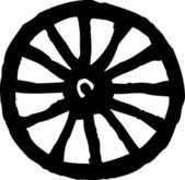 Icono ilustración xilografía de rueda de carro — Vector de stock