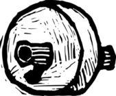 Woodcut Illustration of Caveman Wheel — Stockvektor