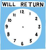 Woodcut illustration of Will Return — Stock Vector