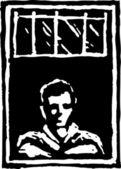 Woodcut Illustration of Man Looking Through Window — Stock Vector
