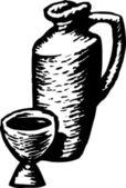 Woodcut Illustration of Wine — Stock Vector