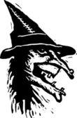 Ilustración de xilografía de bruja — Vector de stock