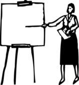 Woodcut Illustration of Woman Making Business Presentation — Stock Vector