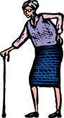 Woodcut Illustration of Senior Woman Walking with Cane — Stockvector