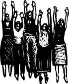 Ilustração em xilogravura de grupo de mulheres torcendo — Vetor de Stock