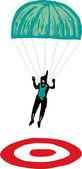 Woodcut Illustration of Parachutist — Stock Vector
