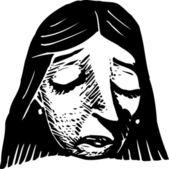 Holzschnitt-abbildung der frau in eine traurige stimmung — Stockvektor