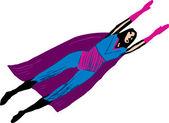 Vector illustration of Super Woman Flying — Stock Vector