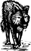 Woodcut Illustration of Werewolf — Stock Vector