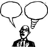 Ilustración de xilografía del hombre con la palabra globo y globo de pensamiento — Vector de stock
