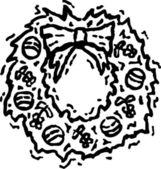 Dřevoryt ilustrace vánoční věnec — Stock vektor