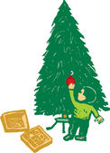 Woodcut Illustration of Little Boy Decorating a Christmas Tree — Stock Vector