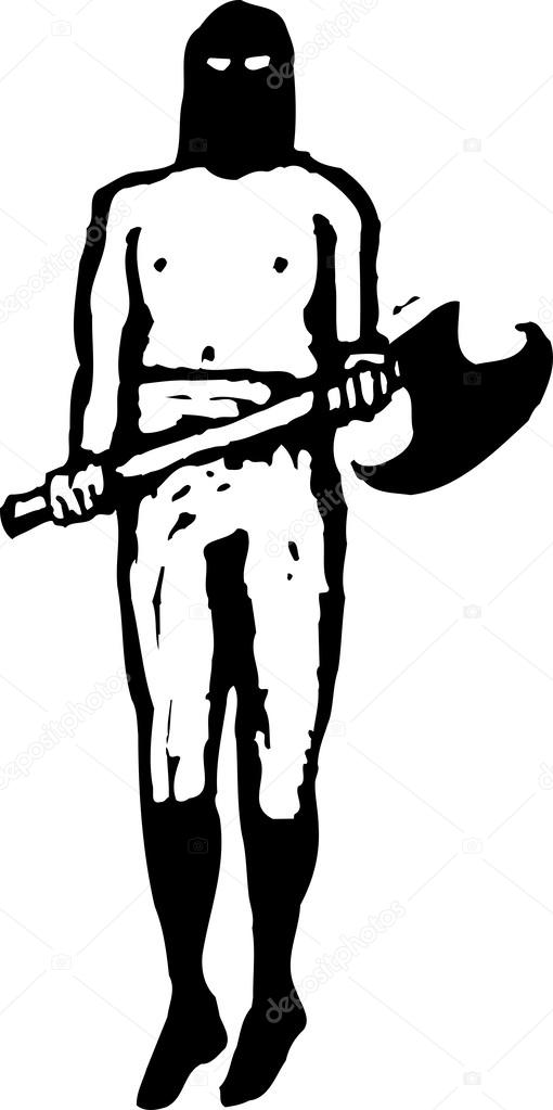Woodcut Illustration of Hooded Executioner with Ax — Stock ...