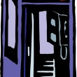 Stock Vector: Woodcut illustration of Phone Booth
