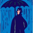 Woodcut Illustration of Man Standing in Rain with Umbrella — Stock Vector