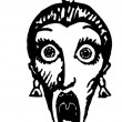 Woodcut Illustration of Woman Screaming in Fright — Imagen vectorial