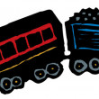 Woodcut Illustration of Toy Train — Stock Vector