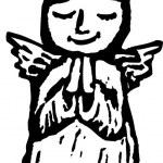 Woodcut Illustration of Little Girl Angel — Stock Vector #30603985