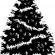 Woodcut Illustration of Christmas Tree — Stok Vektör