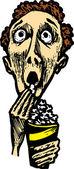 Woodcut Illustration of Man at Movies Eating Popcorn — Stock Vector