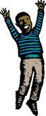 ксилография иллюстрация афро-американского мальчика, прыгать от радости — Cтоковый вектор