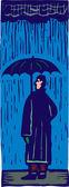 站在伞与雨中男子的木刻插图 — 图库矢量图片