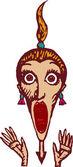Ilustración de xilografía de mujer gritando de miedo — Vector de stock