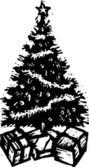 Woodcut Illustration of Christmas Tree — Stock Vector