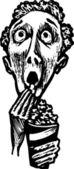 男子看电影吃爆米花矢量插画 — 图库矢量图片