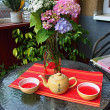 The morning breakfast with Chinese tea — Stockfoto
