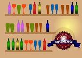 Glasses and bottles — Stock Vector