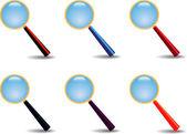 Set of magnifiers — Stock Vector