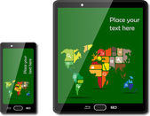Smart phones with maps — Stock Vector