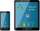Slimme telefoons met recycling tekenen — Stockvector