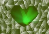 Green glass heart — Foto de Stock