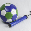 Soccer Ball and Air Pump — Stock Photo