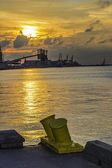 Industrial Coastline Sunset — Stock Photo
