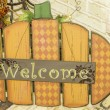 Stock Photo: Pumpkin Welcome Sign