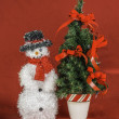 Snowman and Christmas Tree Scene — Stockfoto