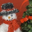 Snowman and Christmas Tree Scene — Stock Photo
