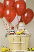 Birthday Boy with Sock Monkey — Stock Photo