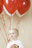 Birthday Boy with Balloons — Stock Photo