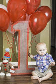 First Birthday Sign with Boy — Stock Photo