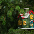 Christmas Card with Ceramic House — Stock Photo