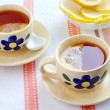Two cups of black tea with lemon — Foto Stock