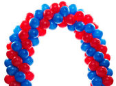 Arch of red and blue balloons — Stock Photo