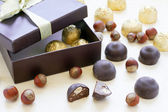 Chocolate candies in a gift box — Stock Photo